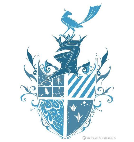 Blue Ink Family Crest Tattoo Design