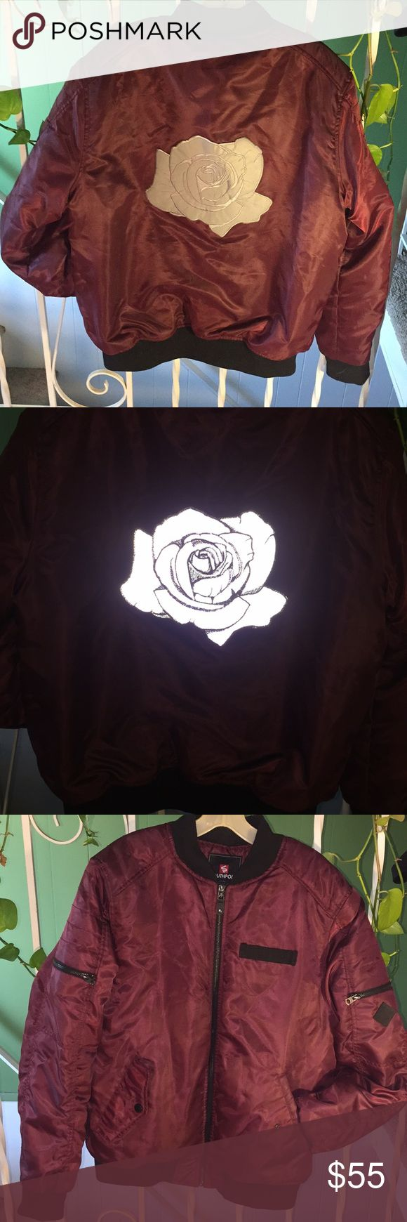 Men's Custom Maroon Patchwork Bomber Jacket Men's Large Maroon Bomber Jacket with Custom Reflective 3M Silver Rose Patch from InnerDecay 💎💣 Lights up brightly under any direct light source, including headlights and camera flashes 📸 Patch is about 9 inches across. Jacket was originally $50 and patch was $30. South Pole Jackets & Coats Bomber & Varsity