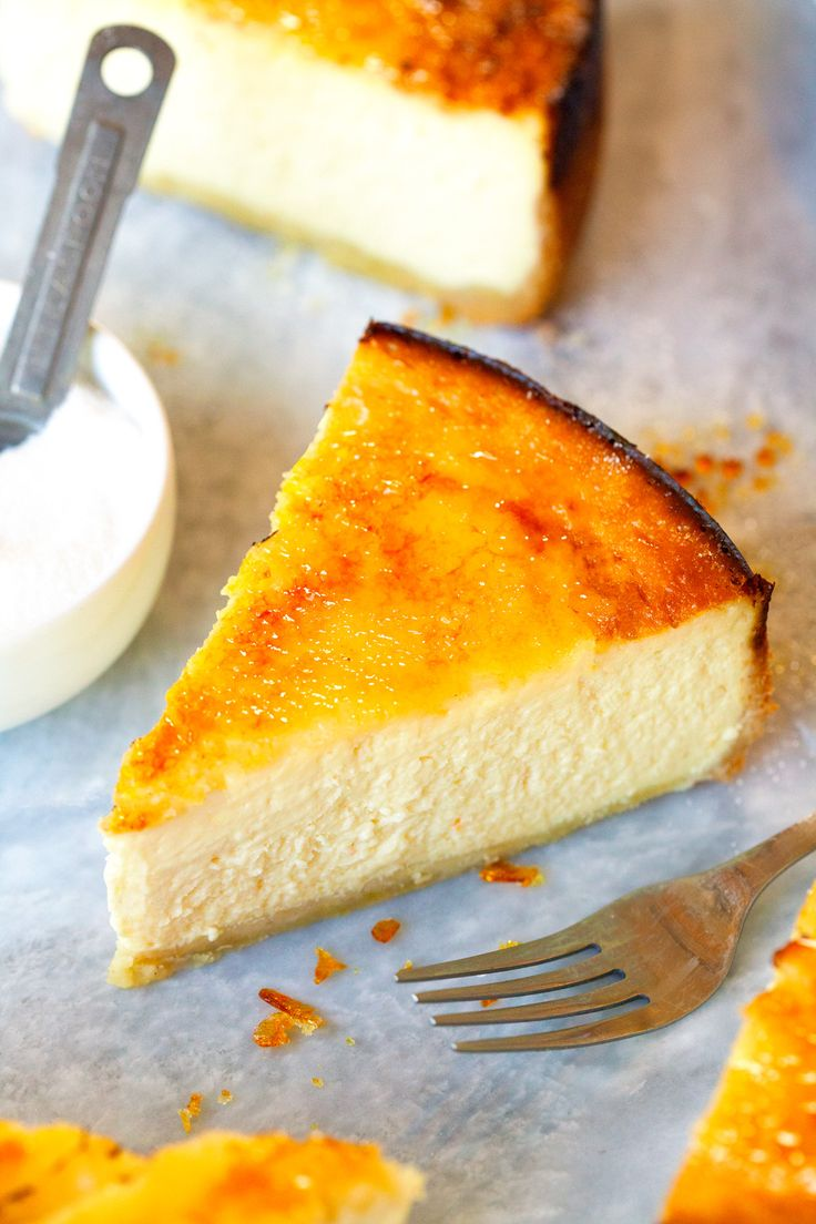 """BRULEED NEW YORK-STYLE CHEESECAKE ~~~ she takes time to make the perfect vanilla lemon-scented crust to go with the perfect ny-style cheesecake and tops it off with everyone's favorite burnt sugar sheen. no wonder she uses the word, """"ultimate"""". lovely~ [deliciouslyyum]"""