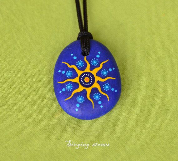 Hand painted stone pendant-SUNYou are the sunshine of your