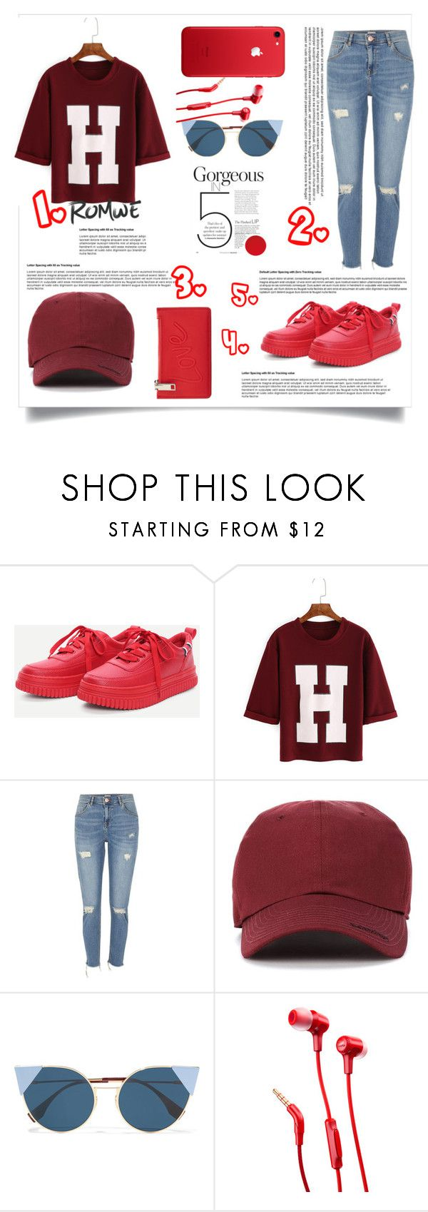 """""""5 Red elements!  Outfit goals"""" by aura-helena ❤ liked on Polyvore featuring River Island, Balenciaga, Fendi, JBL, MANGO, outfit, red, romwe, inspiration and womenfashion"""