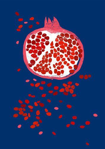 Indigo Pomegranate - Ana Zaja Petrak www.easyart.com