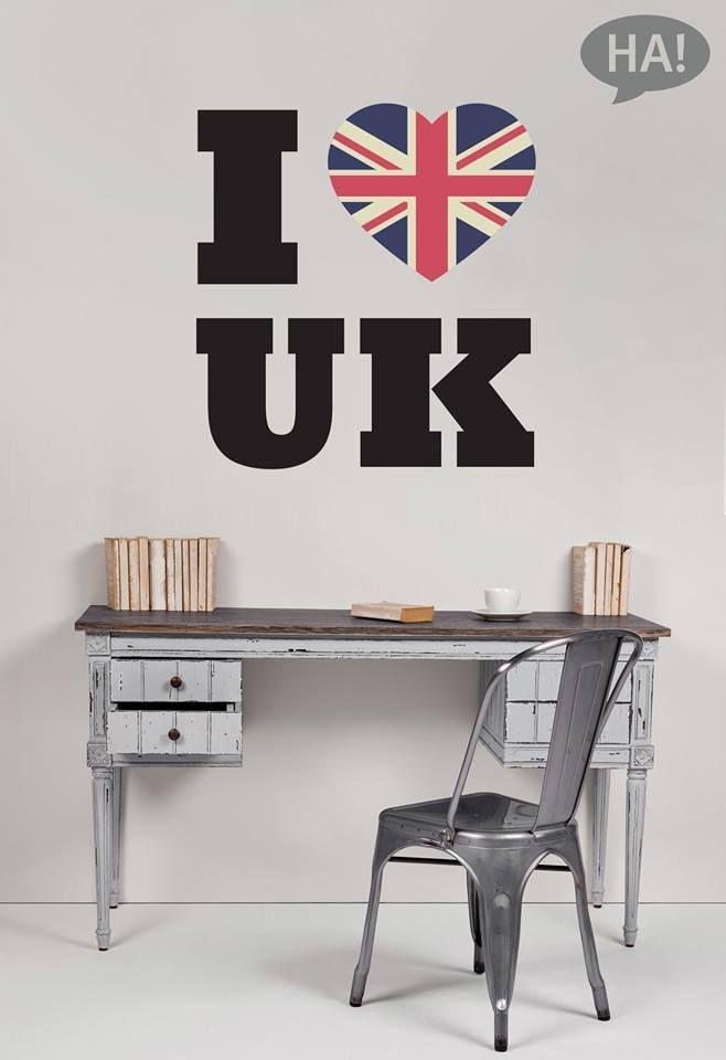 Ι ❤ UK!  Αυτοκόλλητα τοίχου: http://www.houseart.gr/details.php?id=343&pid=13287  #houseart #sticker #uk #london #flag #easy #cheap #wall_art