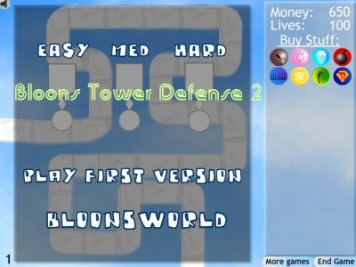 Welcome to Bloons Tower Defense 2, you have 650 money and 40 lives. Use your money to buy and build your towers. Firstly, you must protect your lives by shooting Bloons to get money more. Bloons are enemies, so you must kill them all to pass the next level. Have a fun!