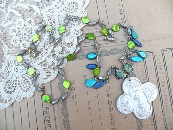 religious necklace assemblage catholic medal upcycled jewelry