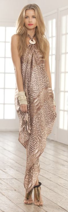 neutral printed maxi dress with oversize bracelets