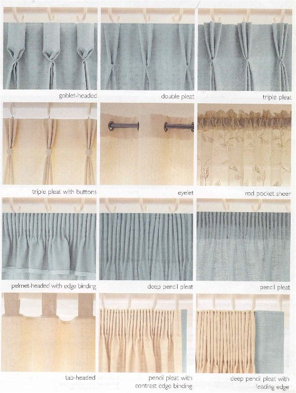 15 best images about curtain headings on pinterest for Different styles of drapes
