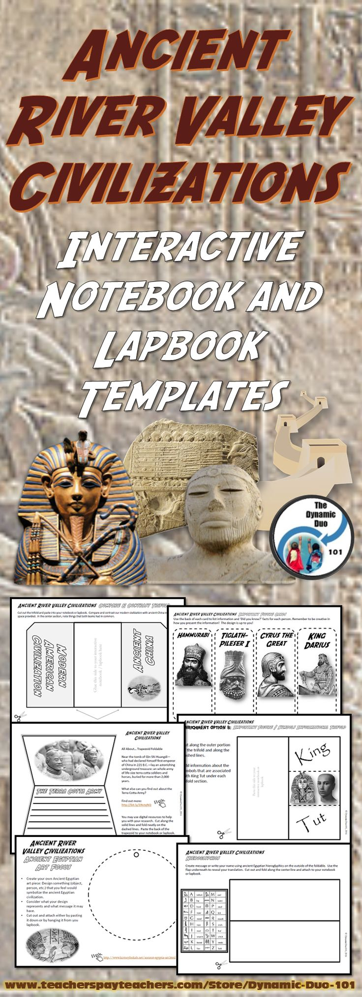 NEW! Ancient River Valley Civilizations Interactive Notebook & Lapbook Activities contains 64 pages of engaging interactive notebook and lapbook activities!