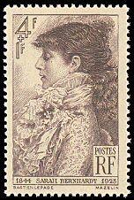 Sarah Bernhardt - 1844-1923 - Timbre de 1945