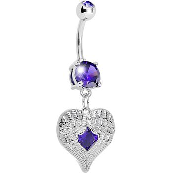 Tanzanite Gem Feathered Heart Dangle Belly Ring #bodycandy #bellyring #heart $9.99