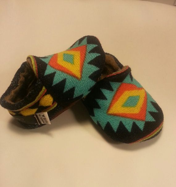 Navajo Baby Booties..Baby Soft Sole Shoes..Baby leather soles on Etsy, $30.00