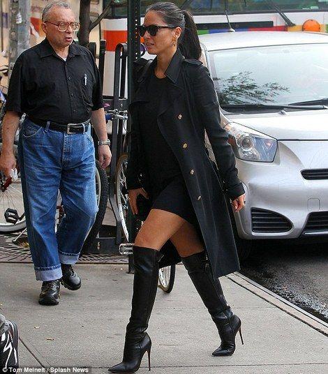 Olivia Munn in black coat, black mini dress and black Christian ...