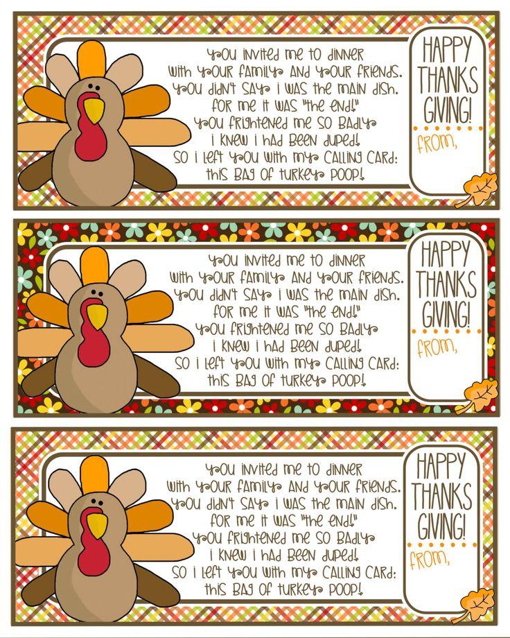 Turkey Poop Poem Printable