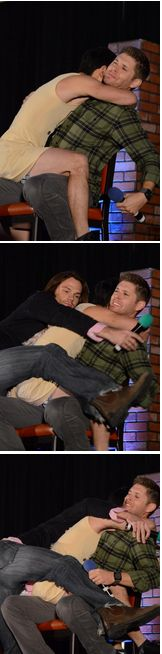 Took me a second to realize the one in the dress is misha <<< JENSHARED SANDWICH HUG JAMISHEN, MISHREDJEN