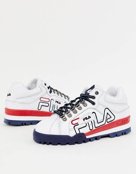 d72d109abd5e Fila White Trailblazer Leather Big Logo Trainers | Shoes in 2019 ...