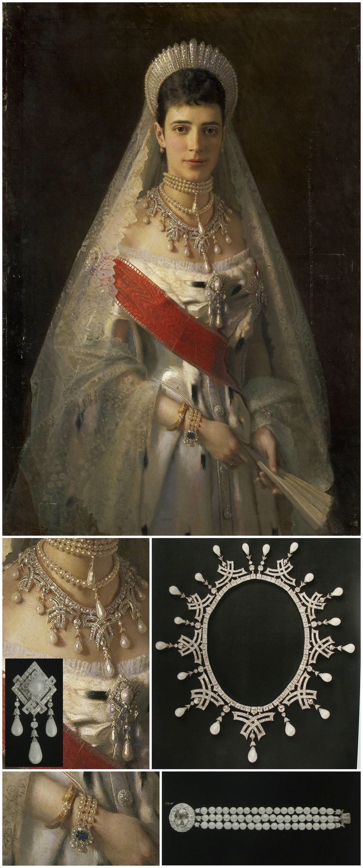 Necklace, brooch and bracelet, all worn by Empress Maria Fyodorovna, as seen in a portrait by Ivan Kramskoy, dated 1881, in the collection of the State Hermitage Museum. The necklace and brooch are from a parure created for Maria Fyodorovna in the early 1880s. Images of the jewels via Elena Horvathova on LiveJournal (http://eho-2013.livejournal.com/62382.html). CLICK FOR LARGER PICTURES.