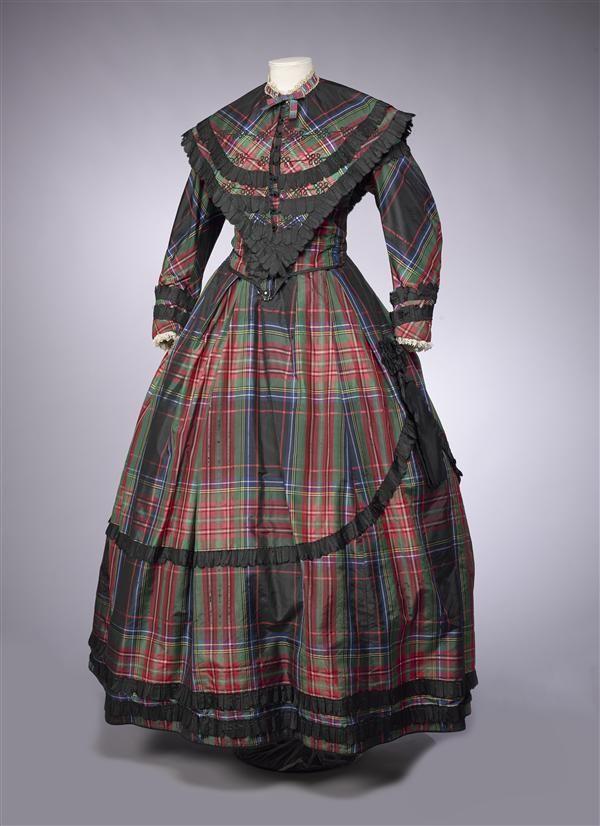 c. 1865 Plaid silk with black ruffles. Gemeentemuseum Den Haag ref: 0556482