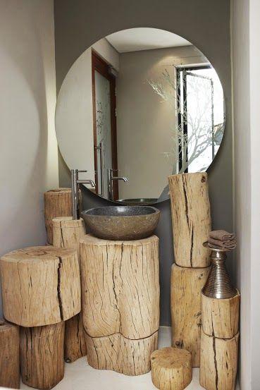 Salle de bains #rondins #bois