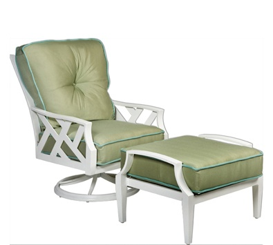 outdoor glider chair with ottoman. harwick collection by designer joe ruggiero for woodard. outdoor swivel rocking chair and ottoman. glider with ottoman t