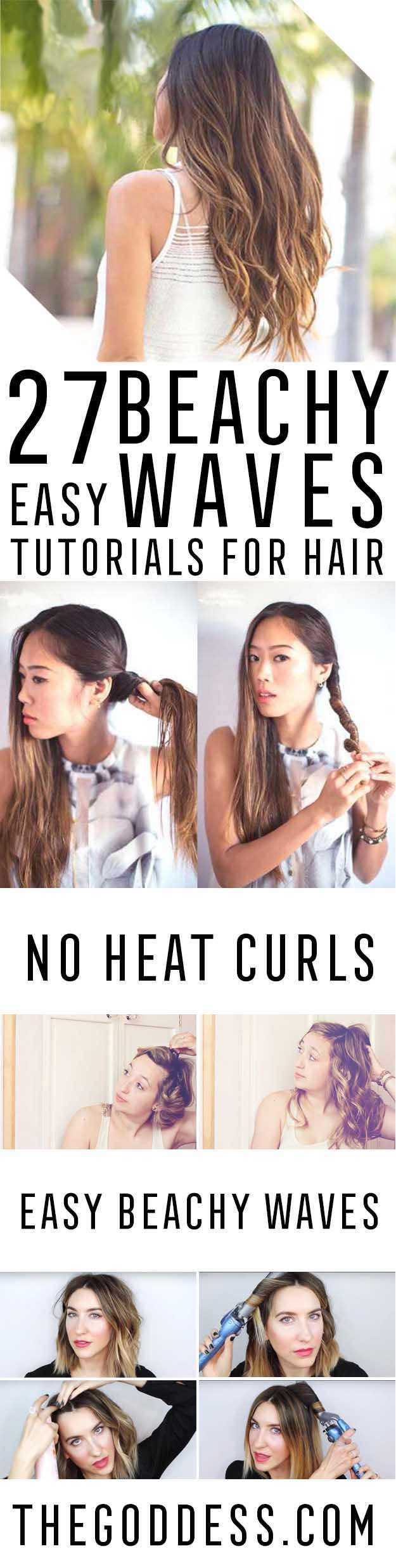 Easy Beachy Waves Tutorials for Hair - DIY And Easy Step By Step Tutorial For Short Hair, Medium Hair, Your Wedding, Prom, Graduation, Or Ladies Night.  Great For Spring, Summer, And Includes Tips For Flat Iron, No Heat, and Other Products and Hairdos - http://thegoddess.com/beachy-waves-tutorials-hair