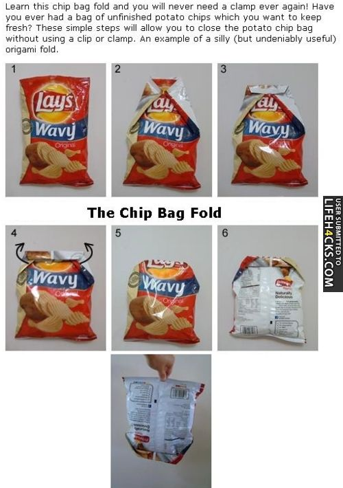 The Chip Bag Fold - #Chips, #FoodHack, #LifeHack