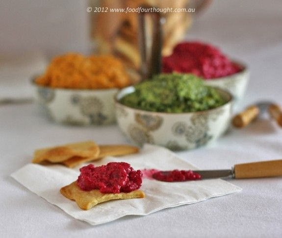 Three dips and bikkies from Food4Thought website - great TM recipes