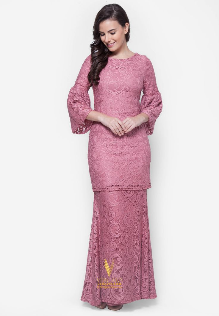 Baju Kurung Moden Lace - Vercato Nora in Dusty Pink. Buy simple and elegance flare sleeve lace baju kurung set. SHOP NOW: www.vercato.com