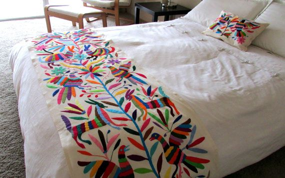 Otomi embroidered fabric king bedspread handmade original Mexican embroidered bedding
