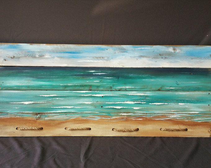 Peinture de plage, bois, décor nautique, Art horizontale, signe de plage, de récupération peint, horizon paysage marin, accent de corde, océan, à la main en détresse