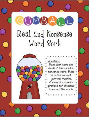 DIBELS Nonsense word gumball word sort for Kindergarten and First Grade