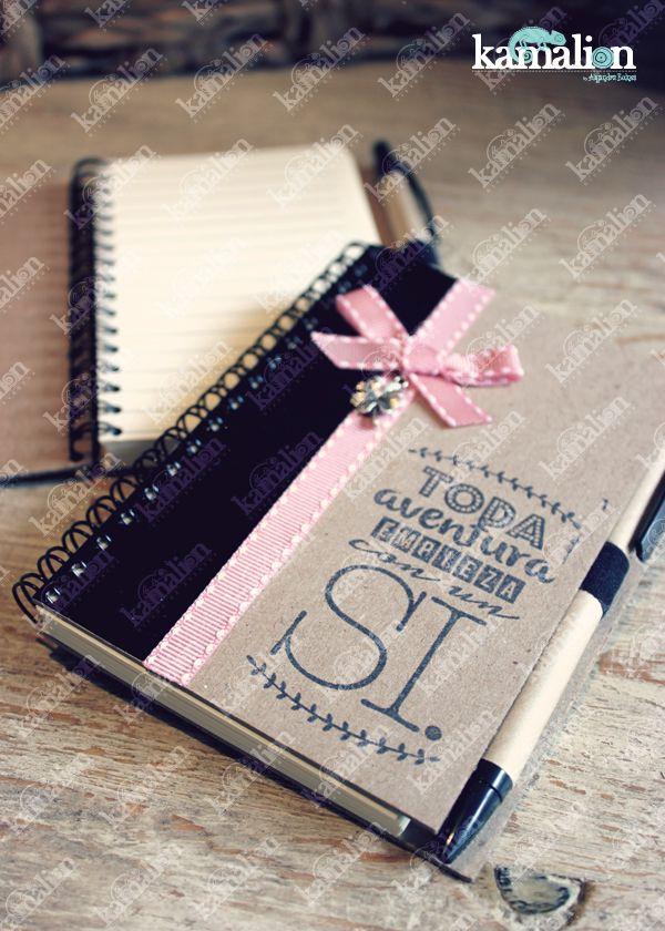 www.kamalion.com.mx - Recuerdos / Giveaways / Favors / Detalles Personalizados / Libreta / Rosa / Pink / Notebook / Negro / Black / Despedida de Soltera / Bachelorette.