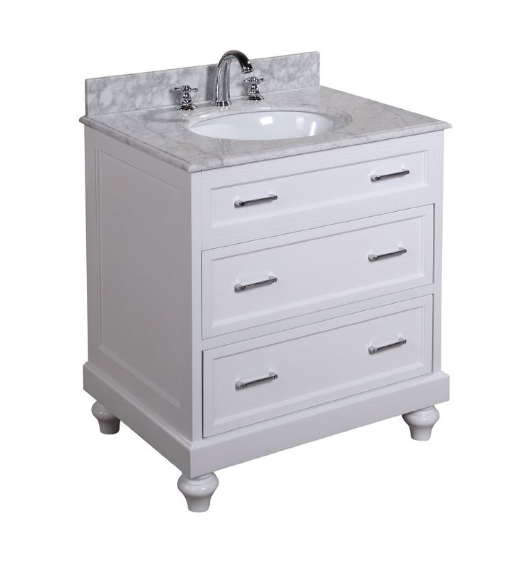 Wayfair Bathroom Vanity >> Amelia 30-inch Bathroom Vanity (Carrera/White): Includes a White Cabinet, Soft Close Drawers, a ...