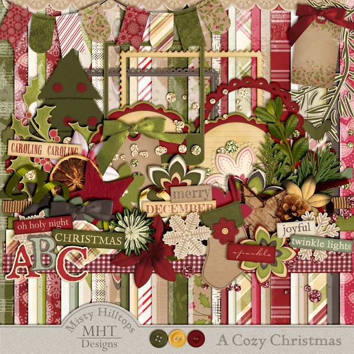 A Cozy Christmas, digital scrapbooking freebie, Misty Hilltops Designs, Use the blog's search feature and type the kit's name to find all 5 parts of this freebie collection