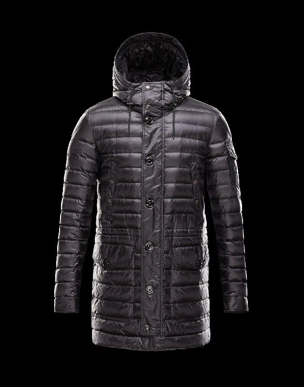 2014 Moncler Mens Down Jackets Deep Purple Long Hooded Stand Collar