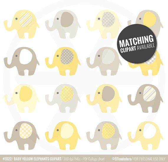 Baby yellow elephants digital paper pack with by eltendedero