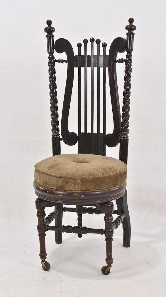 George Hunzinger Victorian high back piano stool. - 144 Best Piano Stools Images On Pinterest Piano Stool, Antique