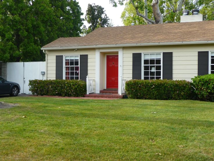 Taupe House Black Shutters Red Door For The Home