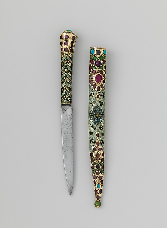 Knife and sheath. 18th century. India. Silver-gilt, enameled and set with rubies over foil and turquoise