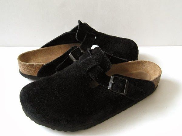 BIRKENSTOCK 39 BIRKENSTOCK BOSTON CLOGS BLACK SUEDE *PRIMO* WOMENS 8 #Birkenstock #Clogs