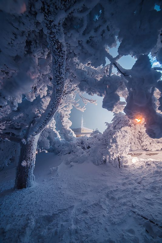 Зимний закат на вершине Машука 16 фото