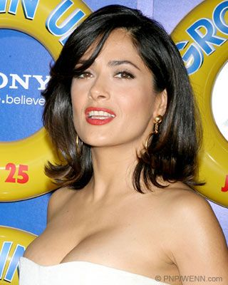 Medium-Length Hairstyle Ideas - Salma Hayek - smooth with a flip UP at the ends and soft side swept bang. Tucked a bit behind her ear too.