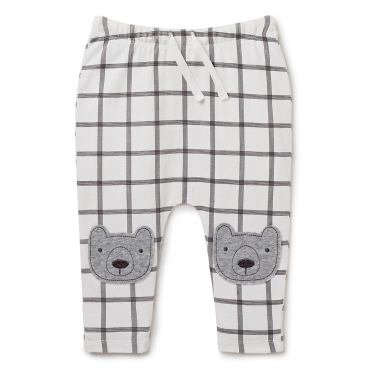These lightweight pull-on pants are ideal for baby comfort. With a snug elastic waist and comfortable drawstring, they feature fun bear knee patches that they'll love. The harem style ensures that they have plenty of room to move. Made from a cotton blend, available in sizes 0000 to 1.