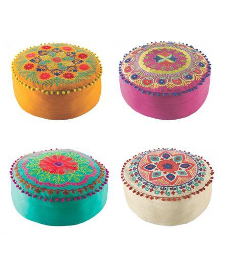 Karma Living Indian Embroidered Ottoman Poufs