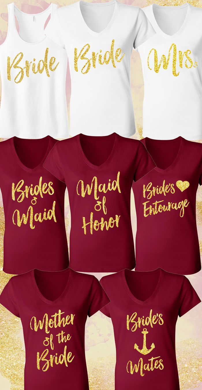 Beautiful MERLOT RED & GOLD #Wedding Shirts at http://www.MrsBridalShop.com. Buy more and save, Mix and Match, More to choose from.