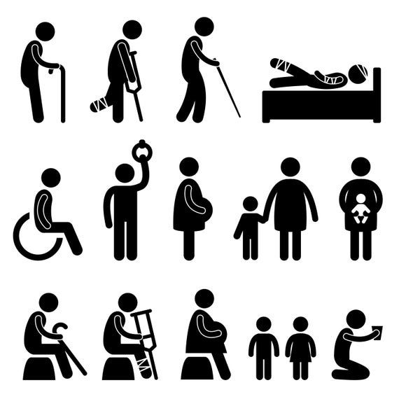 Stick Figures For People In Needs Old Man Handicapped Disabled Pregnant Lady Beggar Blind Injured Man Baby Mother Svg Png Vector Pictogram Stick Figures People Icon