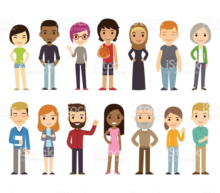 Cartoon diverse people royalty-free stock vector art