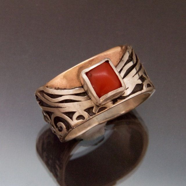 Red Coral Silver Gold Ring - Square Coral - Black Patina - Rounded Square Shape - Waves Spirals - Silver Gold Fusion - Handmade in BC Canada by Fullmoonjoolz on Etsy