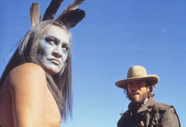 Still of Clint Eastwood and Chief Dan George in The Outlaw Josey Wales