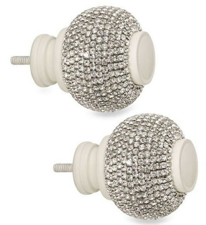 twinkle ball in satin white finials
