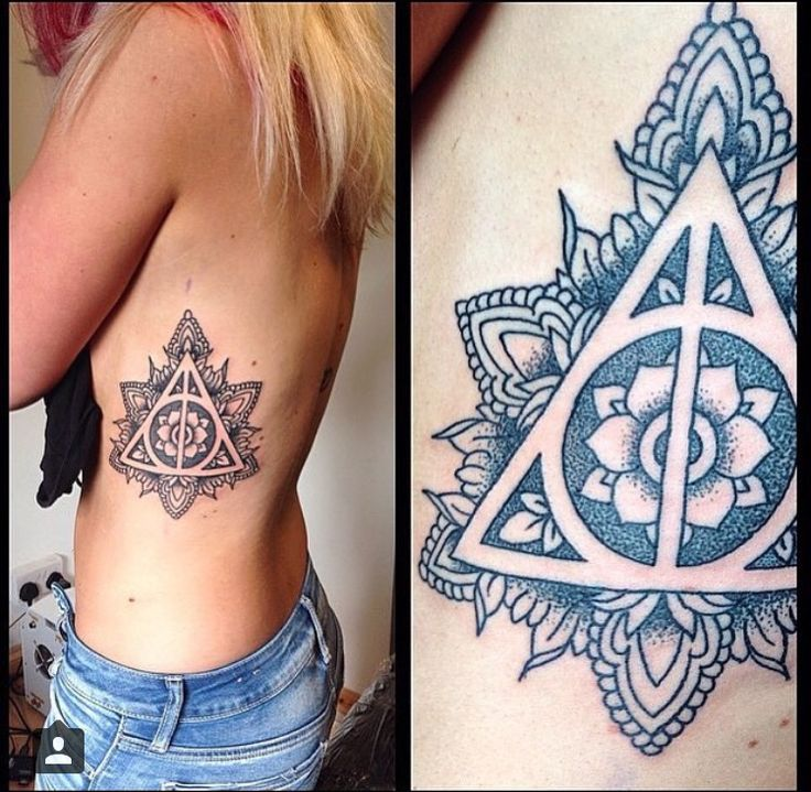 Mandala tattoo inspired by the deathly hollows. Found on instagram. #harrypotter #tattoo #mandala #always